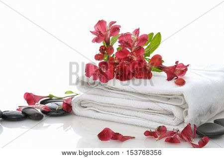 Red branch orchid on towel with stones