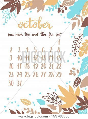 Vector Calendar Page For October 2016 With Floral Design. Autumn Template On White Isolated Backgrou