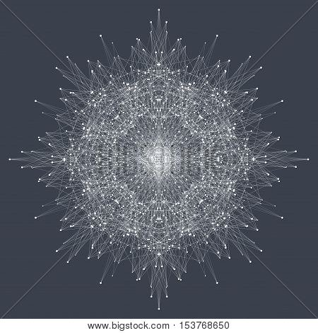 Fractal element with compounds lines and dots. Big data complex. Graphic abstract background communication. Minimal array. Digital data visualization. Vector illustration Big data