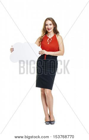 Young beautiful brunette woman holding a cardboard cloud, a place for an inscription, isolated on white background