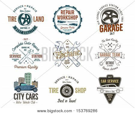 Vintage car service badges, garage repair labels and insignias collection. Retro colors design. Good for repair workshop, classic cars auctions, clubs, tee shirt. Vector