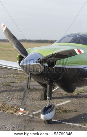The front part of the aircraft with a propeller.
