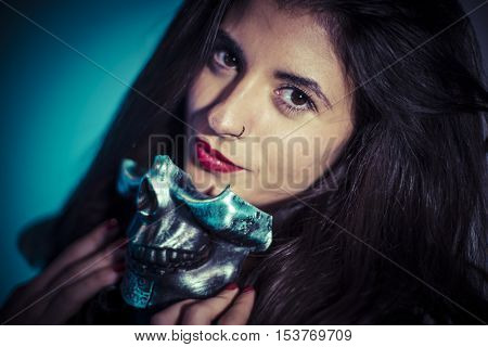 Halloween costume brunette girl with metallic skull mask  sc 1 st  Bigstock & Halloween Costume Brunette Girl Image u0026 Photo | Bigstock