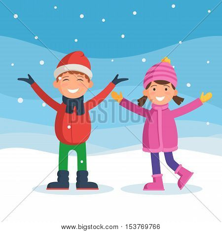 Kids enjoy the snow and winter holidays. Winter fun. Happy boy and girl under the snow. Vector illustration in cartoon style for web design or greeting card