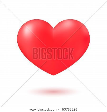 Red Heart realistic 3D icon with shadow. Vector illustration isolated on white background for web design banner, poster or print card
