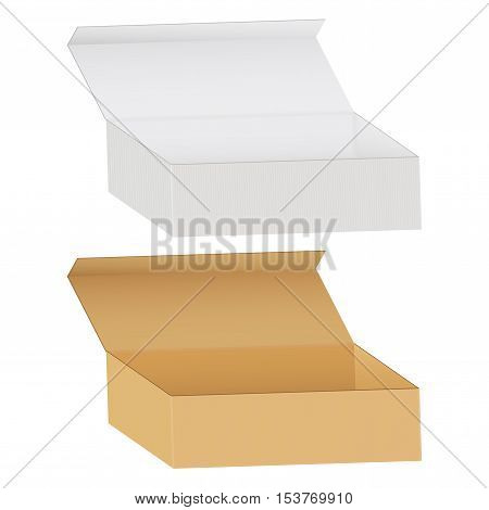 Cardboard box. White and brown. Vector illustration isolated on white background