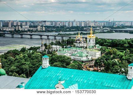 amazing view of Dnipro and Kyiv-Pechersk Lavra, Kyiv, Ukraine