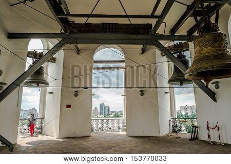 bell tower of Kyiv Pechersk Lavra inside in Kyiv, Ukraine