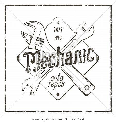 Mechanic auto repair label. Vintage tee design graphics, complete auto repair typography print. Custom t-shirt stamp, teeshirt graphic. Use as emblem, logo on web. Vector monochrome artwork.