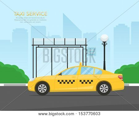 Yellow taxi cab. Taxi waiting passengers at a bus stop near the park. Template for a banner or billboard Taxi service. Vector Illustration in flat style.