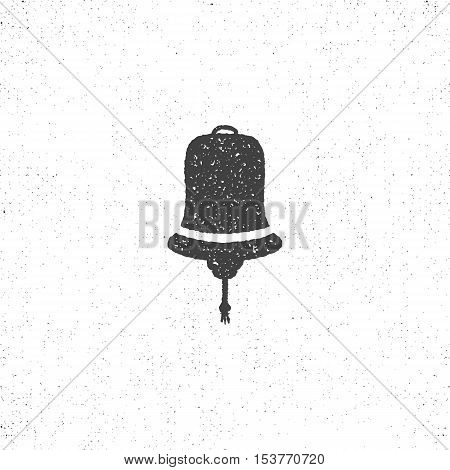Hand drawn textured ship bell symbol. Nautical icon on roughen style. Vector illustration. Monochrome design, isolated on white background.
