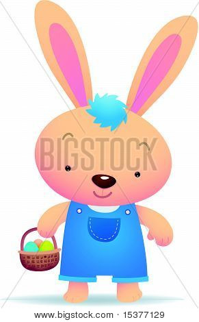 Cute Blue Easter Bunny