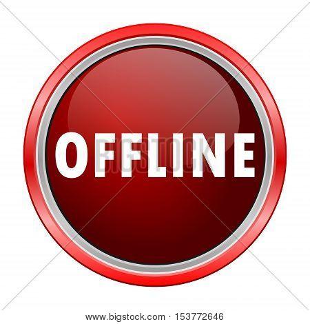 Offline round metallic red button, vector icon