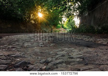 Old road from stone blocks. Rays of the setting sun shining through the trees