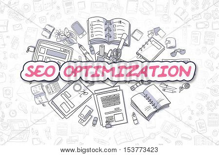 SEO Optimization - Sketch Business Illustration. Magenta Hand Drawn Inscription SEO Optimization Surrounded by Stationery. Doodle Design Elements.