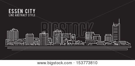 Cityscape Building Line art Vector Illustration design - Essen city