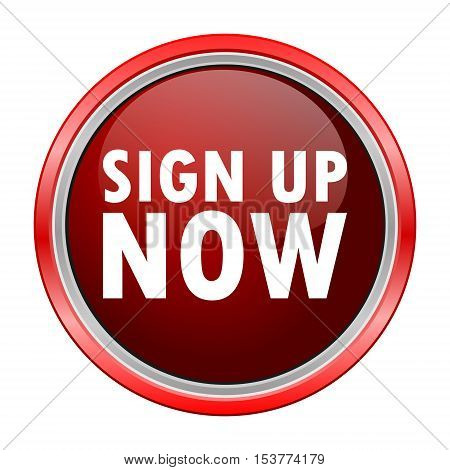 Sign Up Now round metallic red button