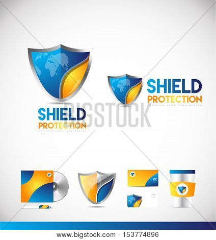 Shield security antivirus protection badge business vector logo icon sign design template corporate identity