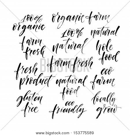 Collection of hand drawn phrase of ecology and organic food. Modern brush calligraphy. Eco friendly farm fresh fresh food organic farm natural food fresh product gluten free 100% natural.
