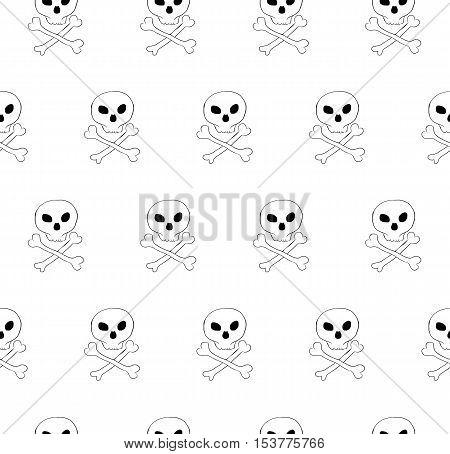 Vector skull and bones crossed seamless pattern. Diagonal tile, phantasy pattern. Transparent background.