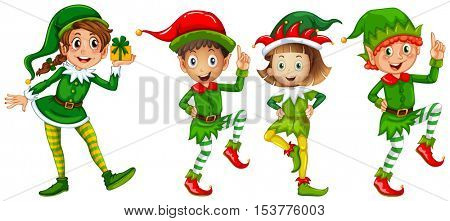 Christmas elf in green costume illustration