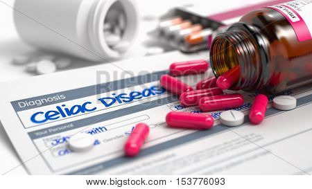Handwritten Diagnosis Celiac Disease in the Disease Extract. Medicaments Composition of Blister of Red Pills, Blister of Pills and Bottle of Tablets. 3D Illustration.
