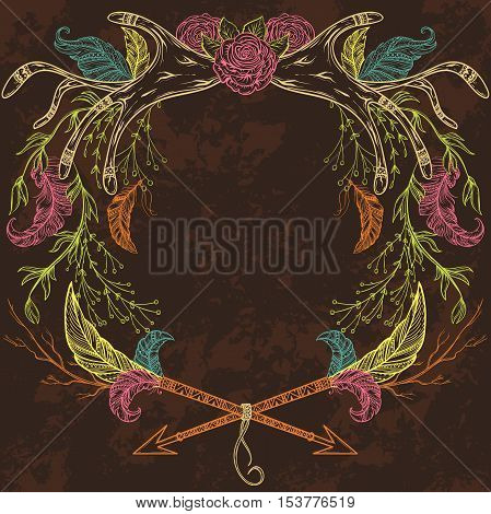 Wreath with antler, feather, arrow, flower, leaf and branch in boho style. Isolated elements. Design concept for wedding invitations and birthday cards. Vintage hand drawn vector illustration.