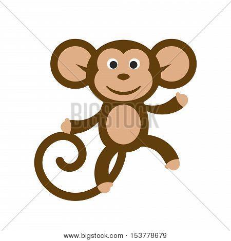 Happy cartoon monkey vector illustration. Fun dancing monkey clipart.