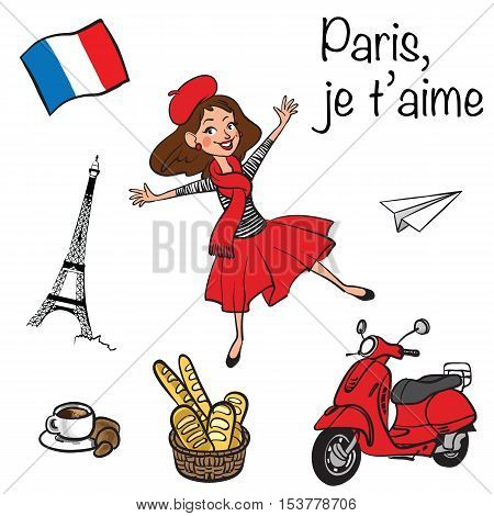 Vector hand drawn illustration iconset with Paris symbols. Funny cartoon french girl dancing in Paris.Paris je T'aime - I love Paris