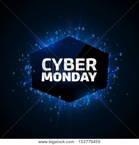 Cyber Monday promotion banner template. Blue explosion made of stars and digits on a dark background.