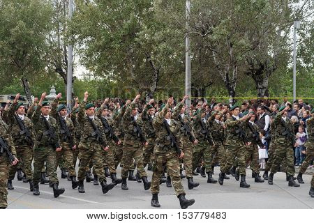 Thessaloniki, Greece - 28 October 2016: Oxi Day Greek Army parade. 28 October is a national Greek holiday commemorating the Greek no against the Mussolini Italian ultimatum of 1940.