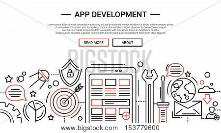 App Development - illustration of vector modern simple line design composition and infographics elements with mobile device, work tools. Header, banner for your site.