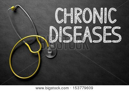 Medical Concept: Chronic Diseases Handwritten on Black Chalkboard. Medical Concept: Black Chalkboard with Chronic Diseases. 3D Rendering.