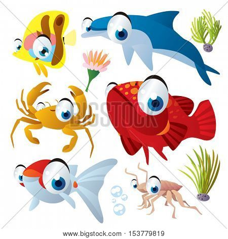 cute vector flat style illustration of sea life animals and fish. Funny collection set of dolphin, grouper, goldfrish, crayfish, crab