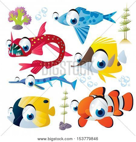 cute vector flat style illustration of sea life animals and fish. Funny collection set of tropical reef underwater creatures: needle fish, viper fish, butterfly fish, clown fish