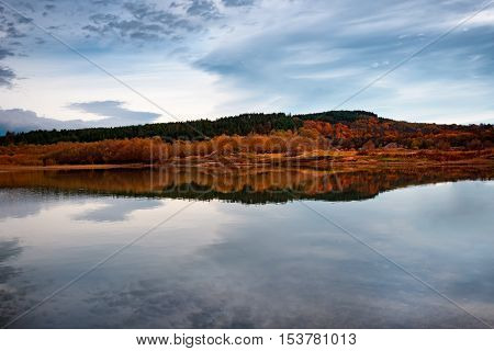 Beautiful autumn landscape at Koprinka Dam, Bulgaria