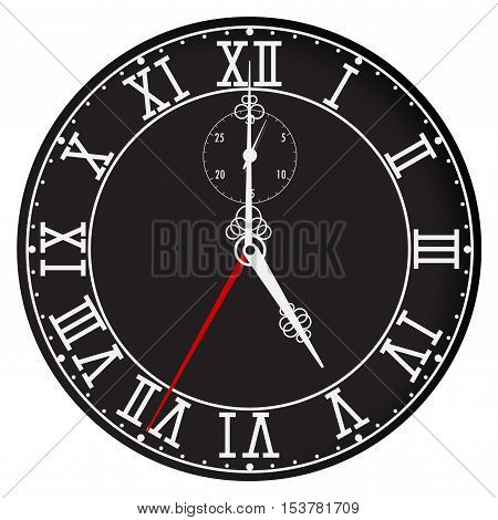 Clock face with roman numerals. Five o'clock. Vector illustration isolated on white background