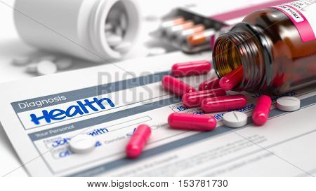 Health - Handwritten Diagnosis in the Anamnesis. Medical Concept with Red Pills, Close View, Selective Focus. Health Text in Medical History. CloseUp View of Medicine Concept. 3D Render.