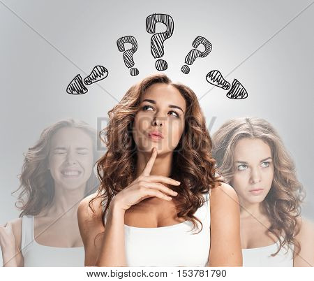 thinking women with question mark on the white background