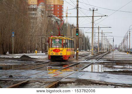 Volzhskij Volgograd Region Russia - February 21 2010: Old soviet tram model KTM-5M3 (71-605) in Volzhskij.