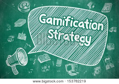 Shrieking Megaphone with Text Gamification Strategy on Speech Bubble. Cartoon Illustration. Business Concept.