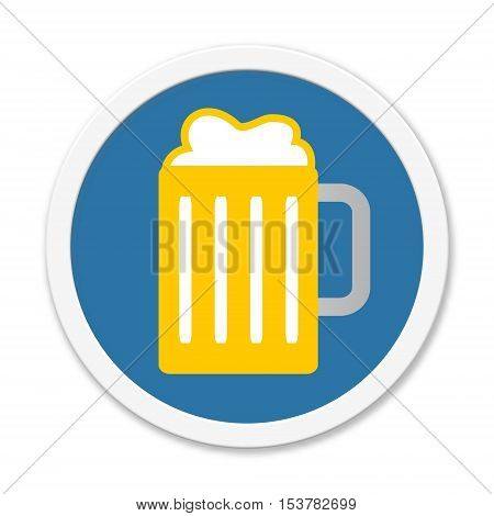 Blue isolated round Button with Symbol of Beer