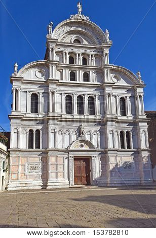facade of the church of San Zaccaria, former monastic church in central Venice, Italy