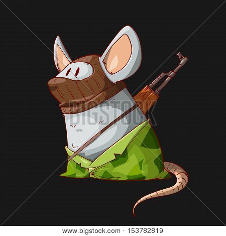 Colorful vector illustration of a cartoon mouse or rat terrorist wearing a mask camouflage clothes and armed with an assault rifle