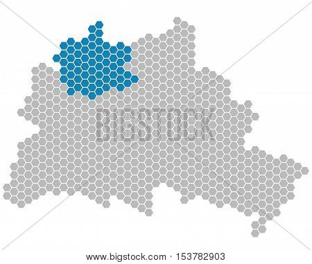 Set: Map of Berlin with grey and blue Pixels showing district of Reinickendorf