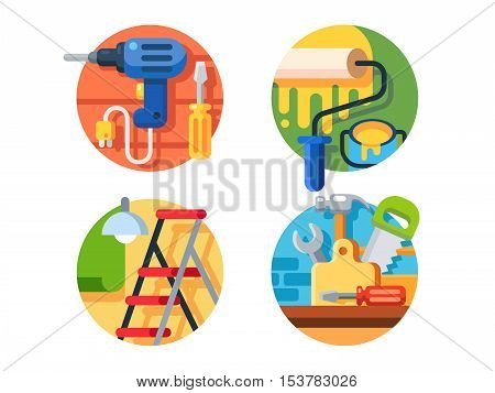 Tools for repair. Roller and drill with screwdriver, ladder, hammer or saw. Vector illustration