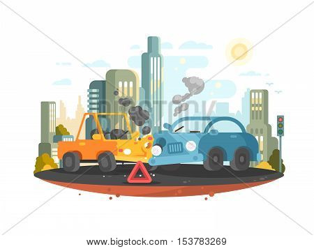 Road traffic accident. Two cars collided in city. Vector illustration