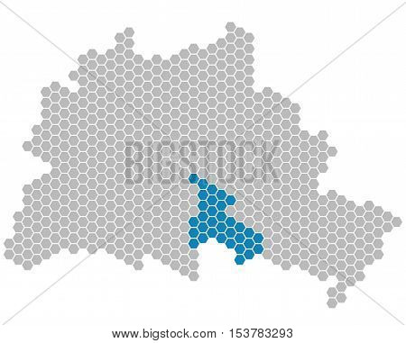 Set: Map of Berlin with grey and blue Pixels showing district of Neukoelln