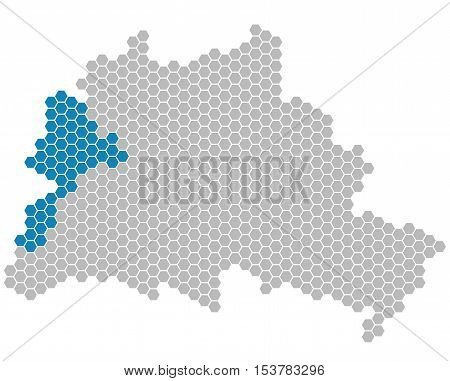Set: Map of Berlin with grey and blue Pixels showing district of Spandau