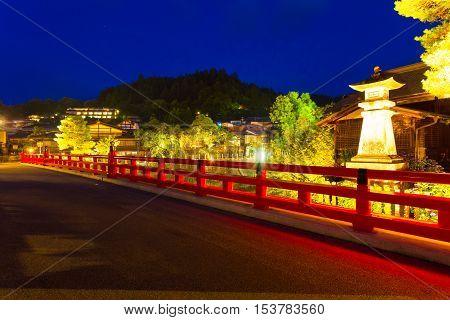 Lighted Close Naka-bashi Bridge Takayama Night